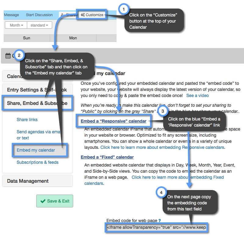 Embedding a Responsive Calendar | Keep&Share Developer